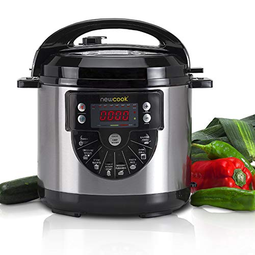 NEWCOOK Newcook Delicious Black Programmable Cooker, Electric Multifunction Pressure Cooker with Voice, 15 Functions, 1000W, 6 l, 4 Lev. Pression, plateau avec revêtement céramique. Accessoire de friture
