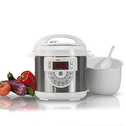 NEWCOOK Newcook Delicious White Programmable Cooker, Electric Multifunction Pressure Cooker with Voice, 15 Functions, 1000W, 6 l, 4 Lev. Pression, plateau avec revêtement céramique. Accessoire de friture